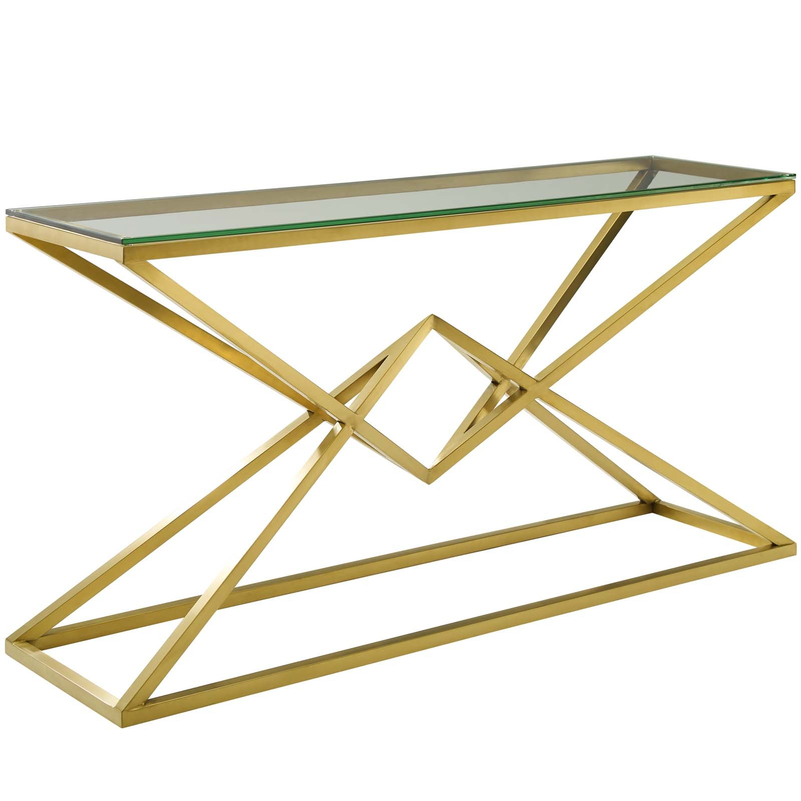 "Point 59"" Brushed Gold Metal Stainless Steel Console Table in Gold"