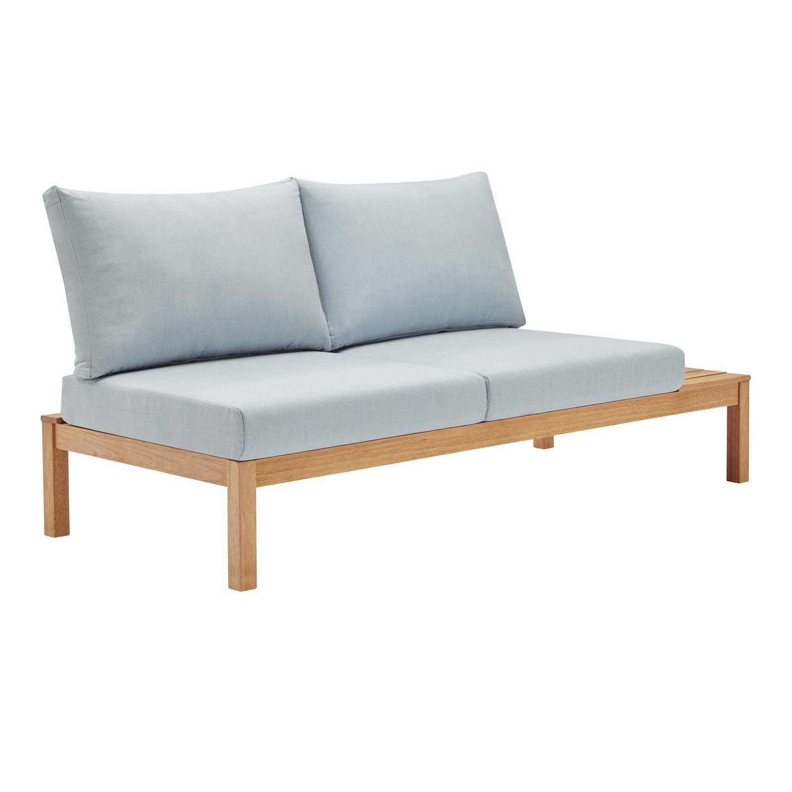 Freeport Karri Wood Outdoor Patio Loveseat with Right-Facing Side End Table in Natural Light Blue
