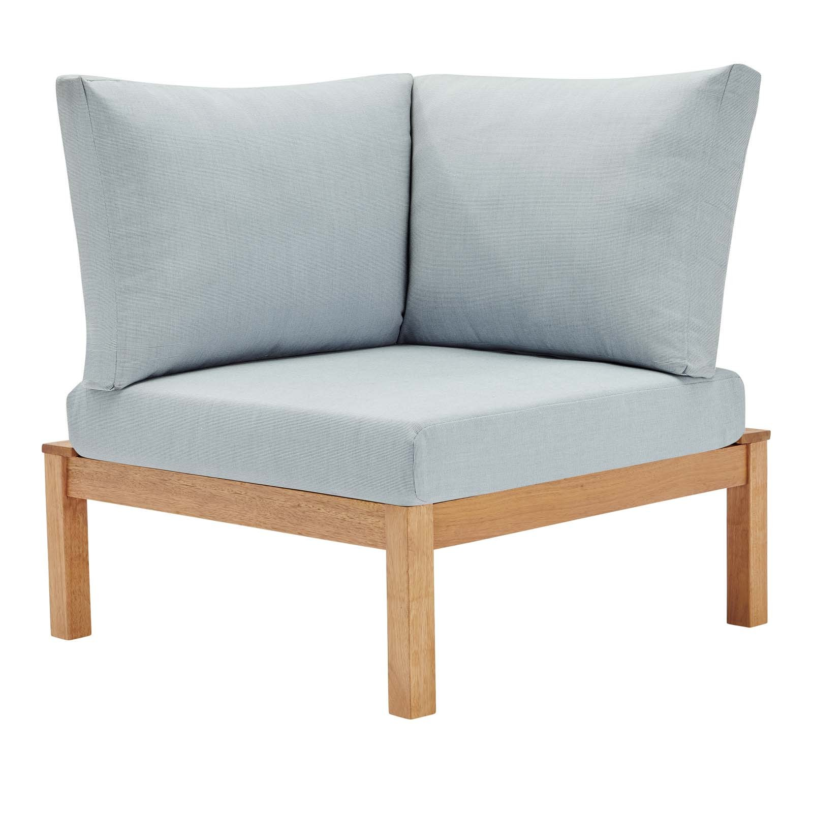 Freeport Karri Wood Sectional Sofa Outdoor Patio Corner Chair in Natural Light Blue