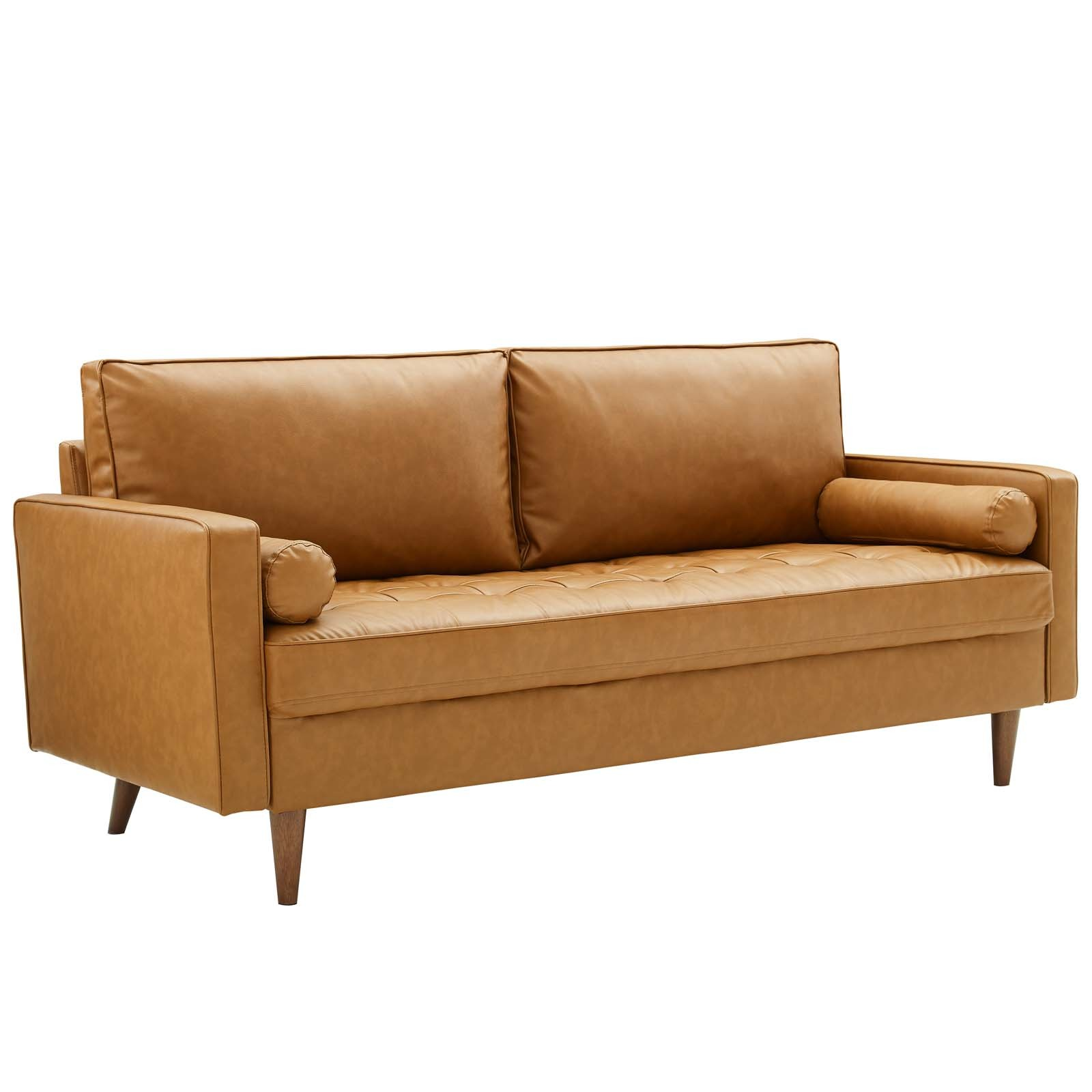 Valour Upholstered Faux Leather Sofa in Tan