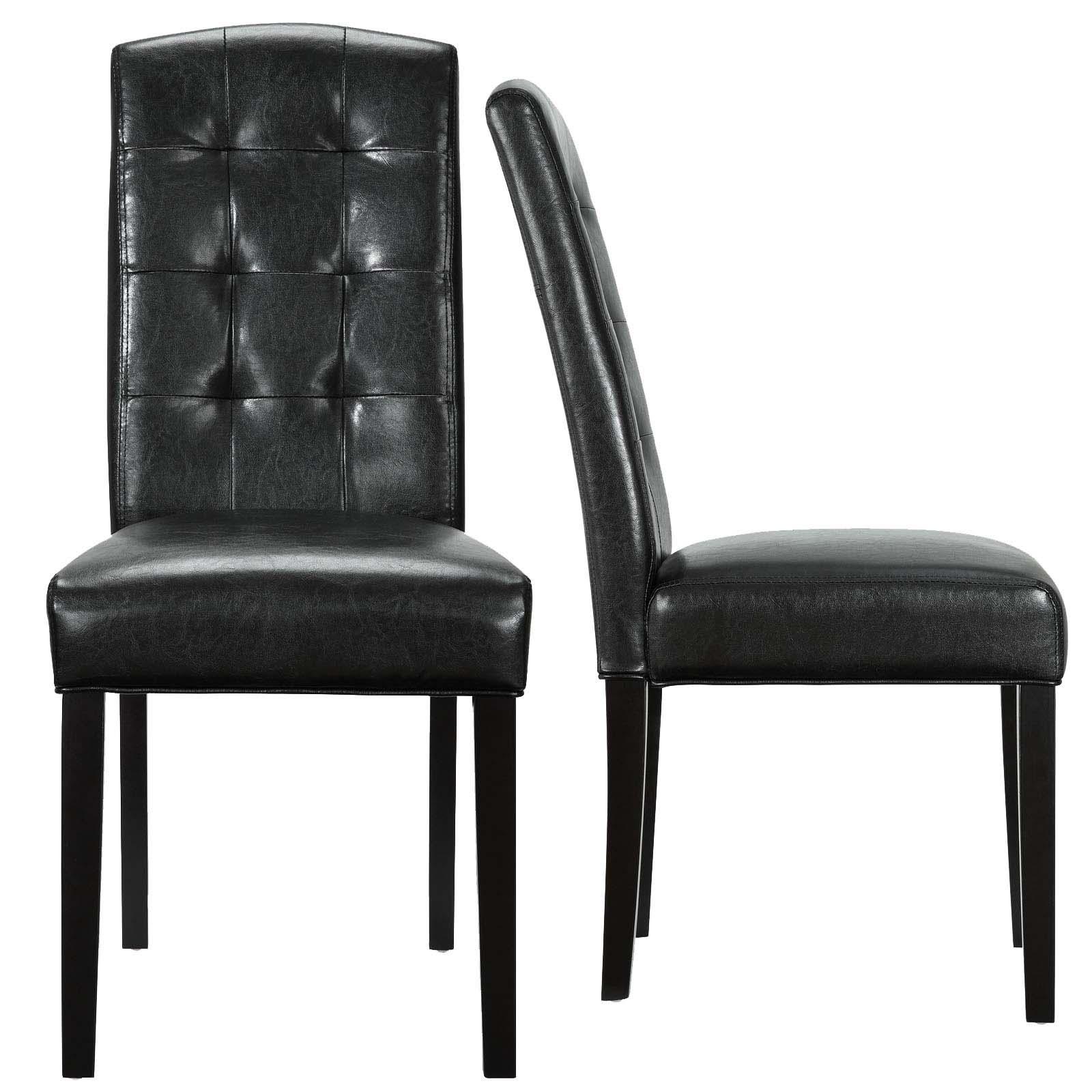 Perdure Dining Chairs Vinyl Set of 2 in Black