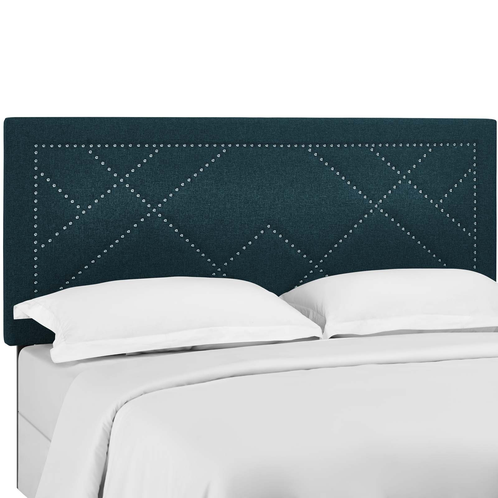 Reese Nailhead Full / Queen Upholstered Linen Fabric Headboard