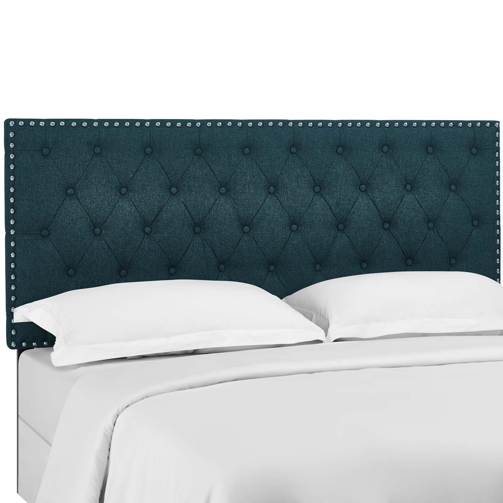 Helena Tufted King and California King Upholstered Linen Fabric Headboard
