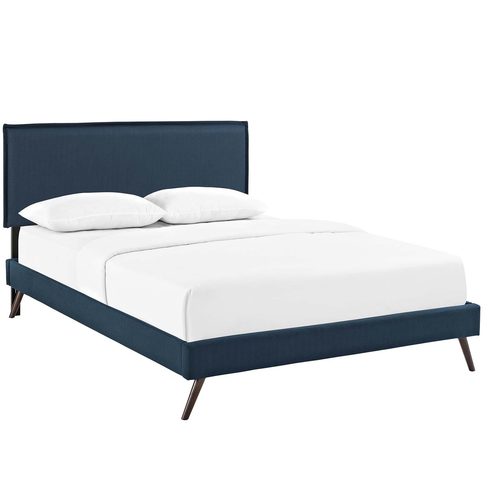 Amaris Queen Fabric Platform Bed with Round Splayed Legs