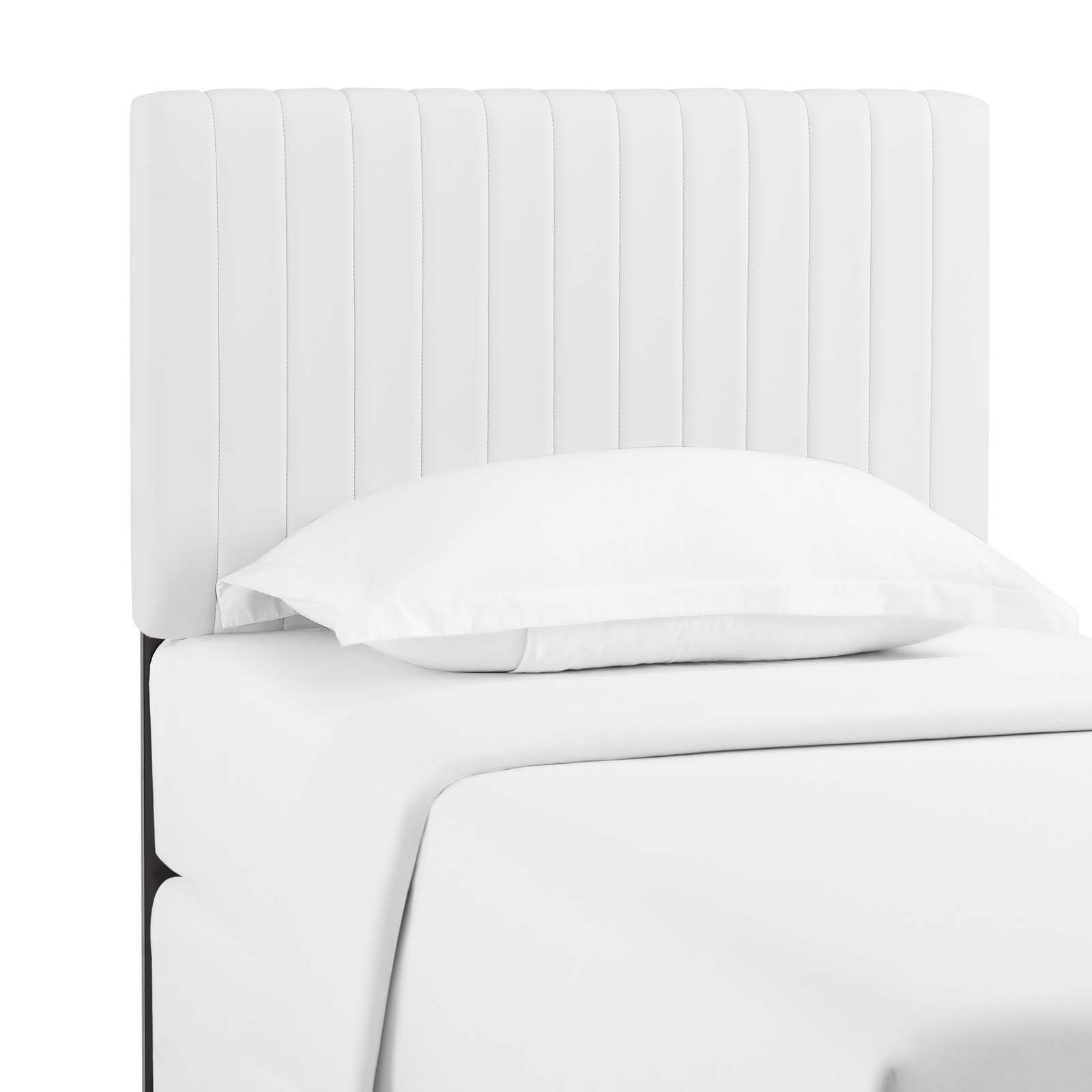 Keira Twin Faux Leather Headboard in White