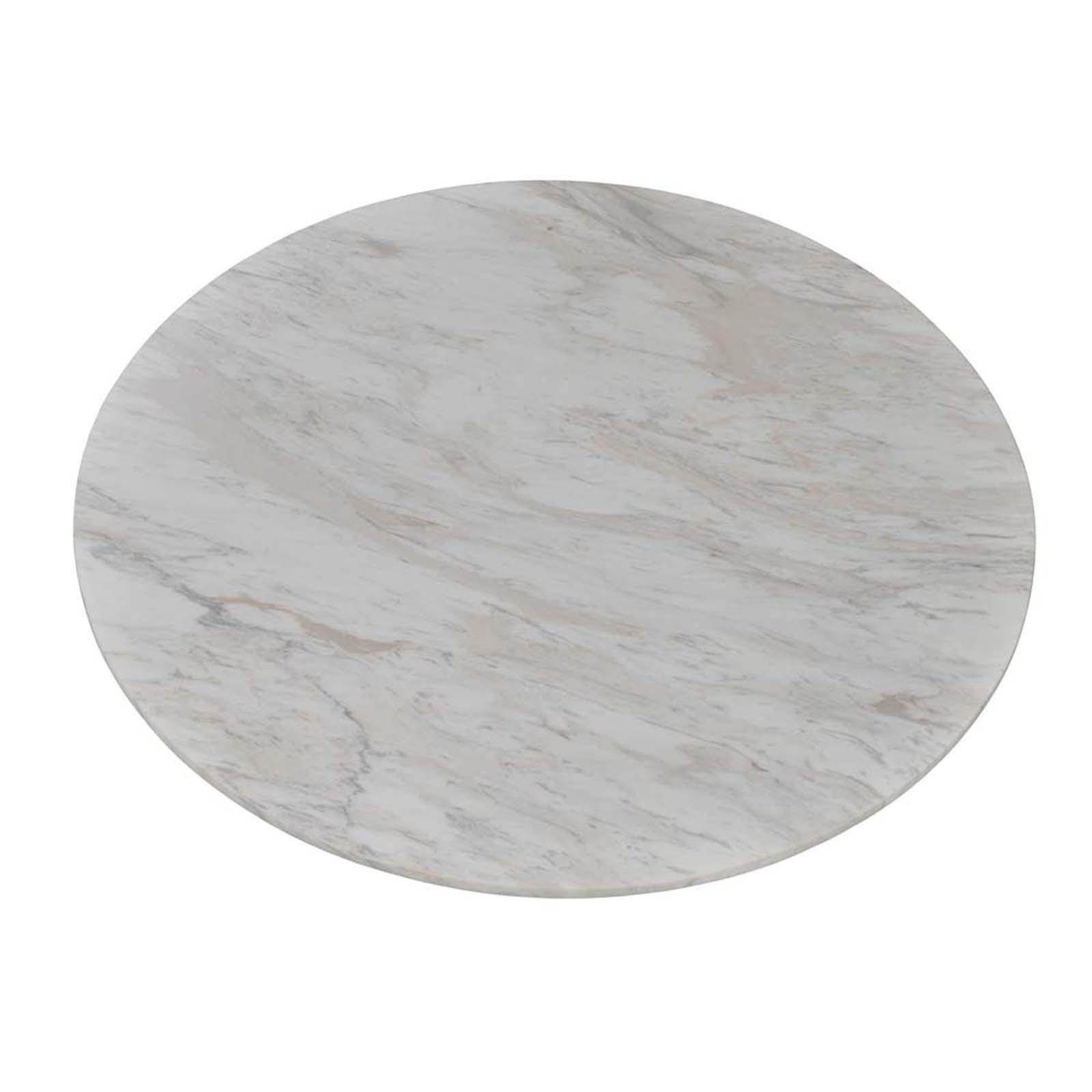 "21.5"" White Carrara Italian Marble Round Table Top"