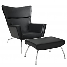 Wegner CH445 Wing Lounge Chair - Leather