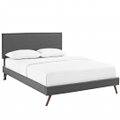 Amaris Full Fabric Platform Bed with Round Splayed Legs in Gray