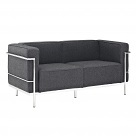 Le Corbusier Style Grande Loveseat Two Seater Couch - Wool