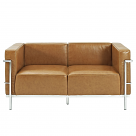 Le Corbusier Style Grande Loveseat Two Seater - Leather