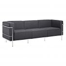 Le Corbusier Style Grande Three Seater Sofa Couch - Wool