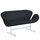Jacobsen Style Swan Love Seat Couch - Wool