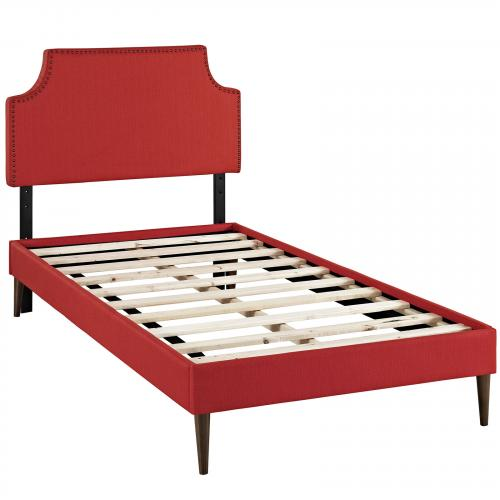 Laura Twin Fabric Platform Bed with Round Tapered Legs