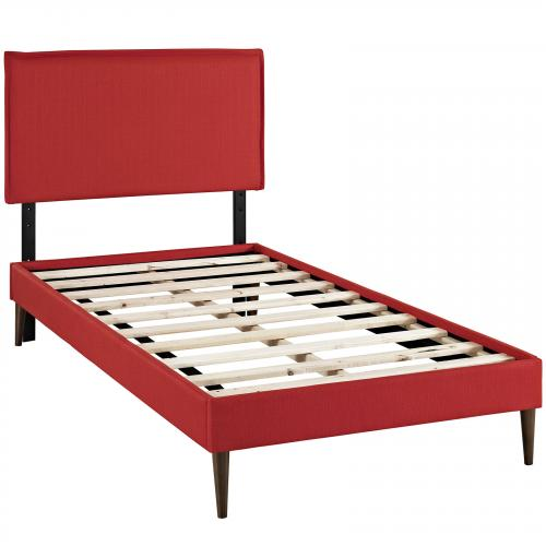 Camille Twin Fabric Platform Bed with Round Tapered Legs