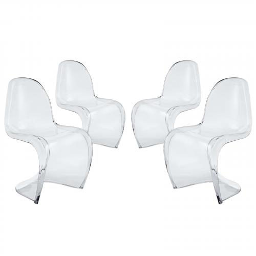 Slither Clear Dining Side Chair Set of 4