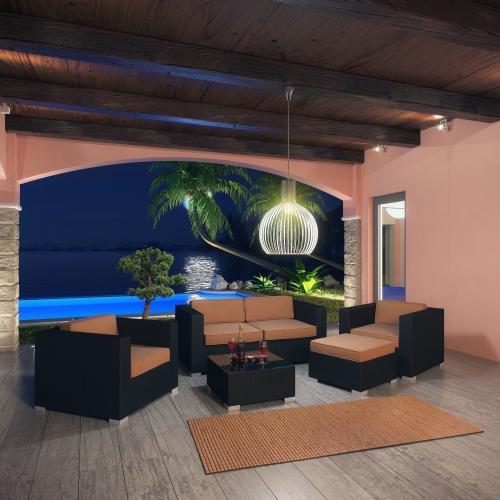 Outdoor Malibu 5 Piece Wicker Patio Sofa Set