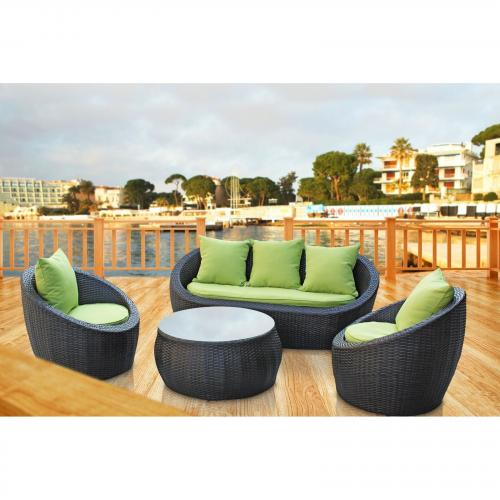 Avo 4 Piece Outdoor Pation Wicker Sofa Set