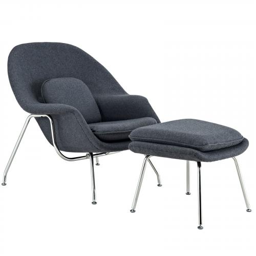 Saarinen Style Womb Lounge Chair & Ottoman