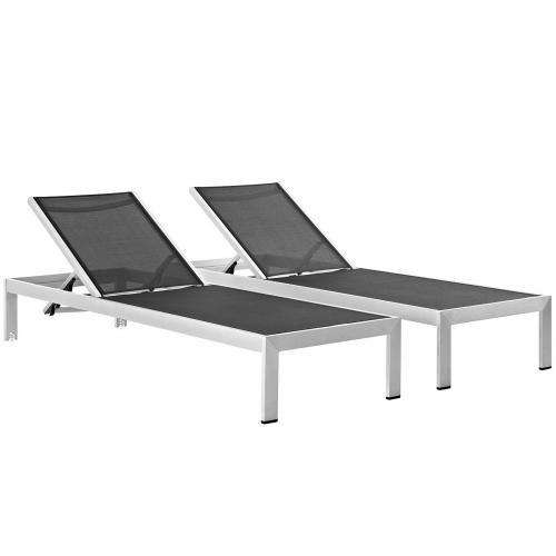 Shore Outdoor Patio Chaise Outdoor Patio Aluminum Set of 2