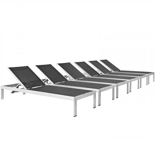 Shore Outdoor Patio Chaise Outdoor Patio Aluminum Set of 6
