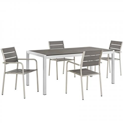 Shore 5 Piece Outdoor Patio Aluminum Dining Set