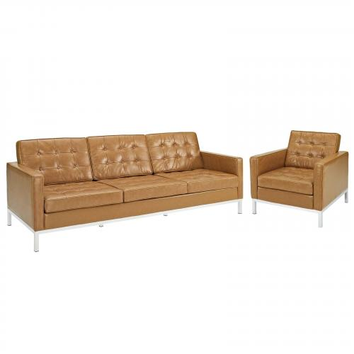 Loft Armchair and Sofa Leather 2 Piece Set