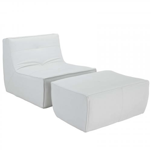 Align 2 Piece Bonded Leather Armchair and Ottoman Set