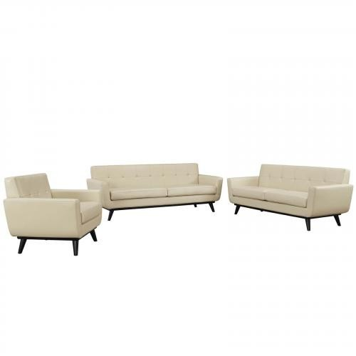 Engage Leather 3 Piece Living Room Set