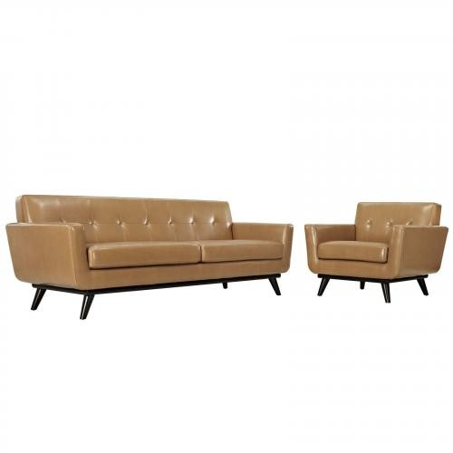Engage Leather Living Room Set - 2 Piece in TAN
