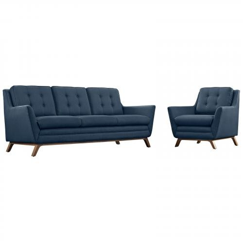 Beguile Fabric 2 Piece Living Room Set