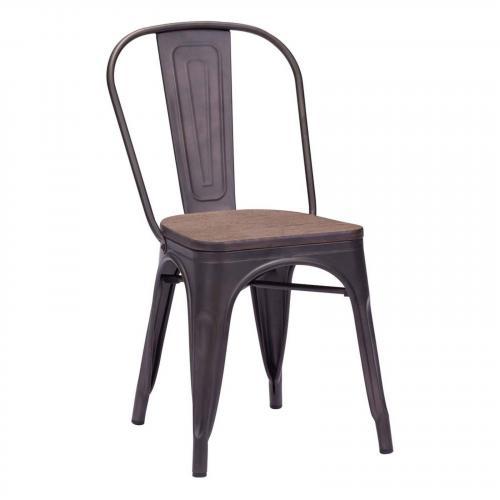 Elio Chair Rustic Wood Top Set of 2