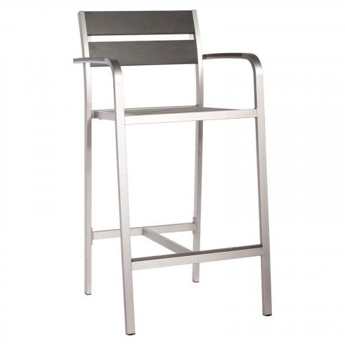 Megapolis Bar Arm Chair Brushed Aluminum Set of 2