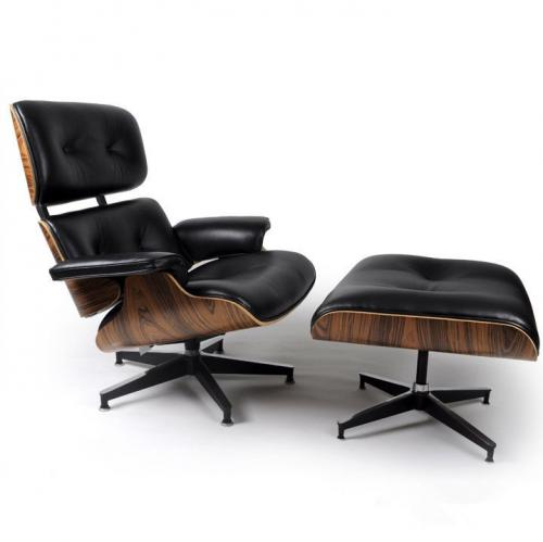 Eames Style Lounge Chair & Ottoman Black Palisander