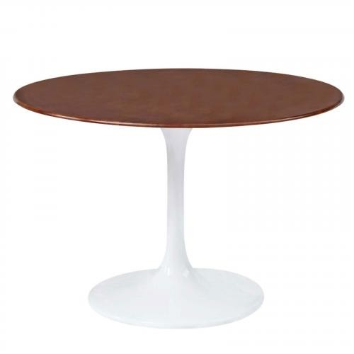 "Flower 30"" Wood Top Dining Table, Walnut"