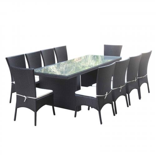 Rattano Outdoor Dining Set, Black