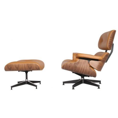 Eames Style Lounge Chair & Ottoman Terracotta Walnut