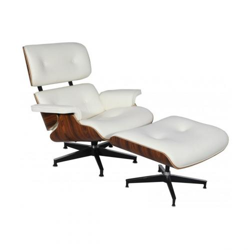 Eames Style Lounge Chair & Ottoman White Palisander