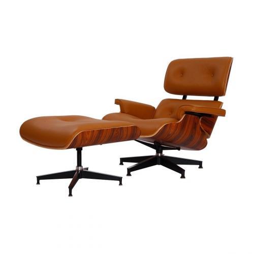 Eames Style Lounge Chair & Ottoman Terracotta Palisan