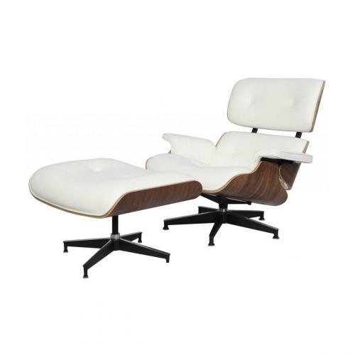 Eames Style Lounge Chair & Ottoman White Walnut