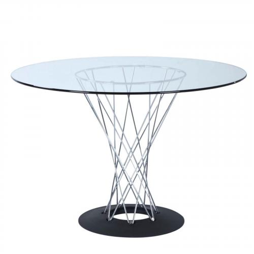 Eastern Chrome Dining Table, Glass