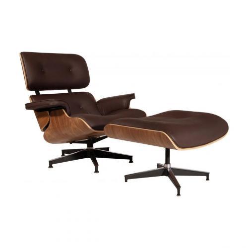 Eames Style Lounge Chair & Ottoman Brown Walnut
