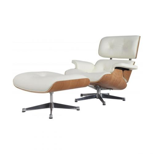 Eames Style Lounge Chair & Ottoman White Natural Silver