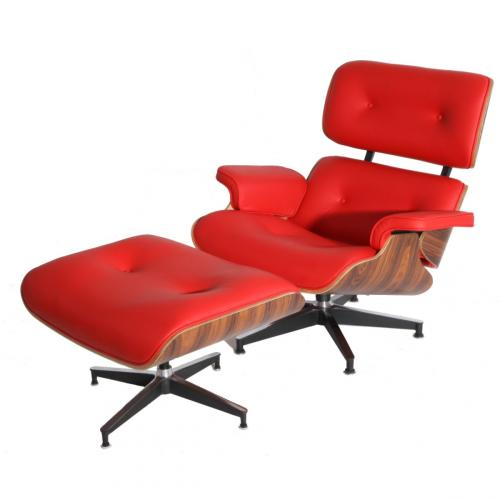 Eames Style Lounge Chair & Ottoman Red Palisander