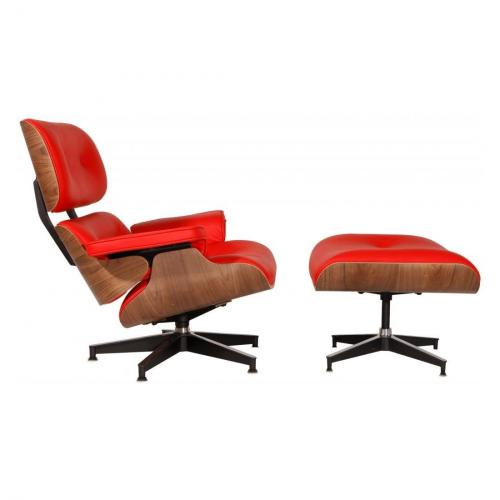 Eames Style Lounge Chair & Ottoman Red Walnut