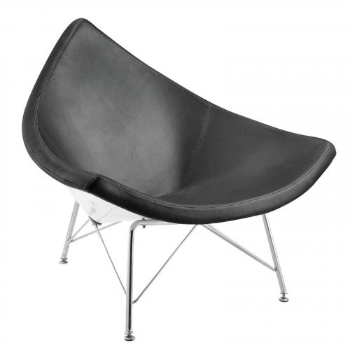 Nut Fiberglass Dining Chair, Black