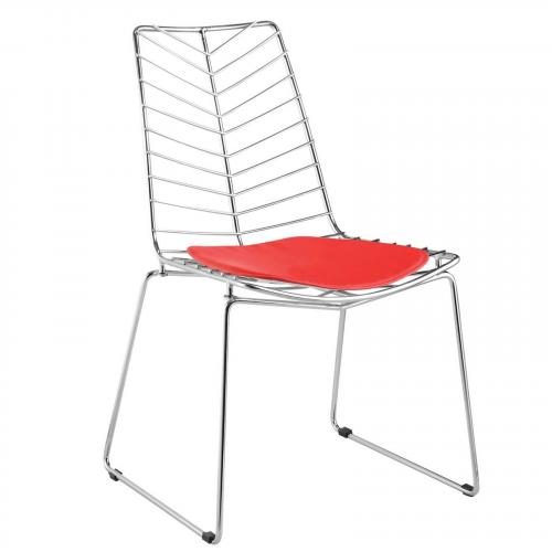Wire Leaf Dining Chair, Red