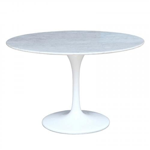 """Flower 60"""" Marble Table in White"""