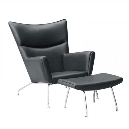 Wing Chair and Ottoman in Leather