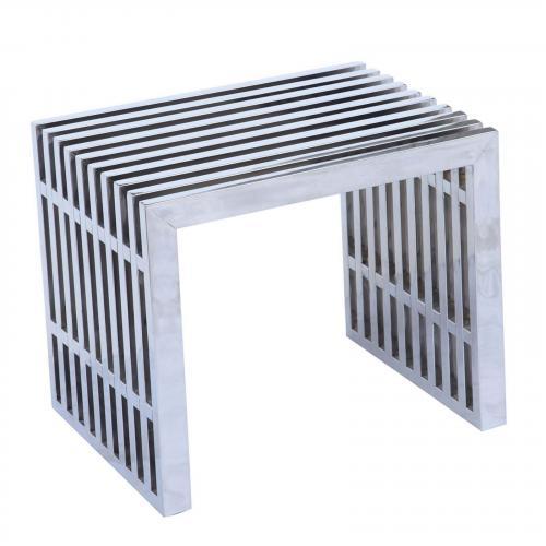 Zeta Stainless Steel Short Bench, Silver