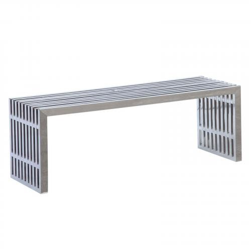 Zeta Stainless Steel Long Bench, Silver